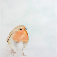 Robin Original Watercolor Painting 8in x 10in, Bird Painting, Original Artwork