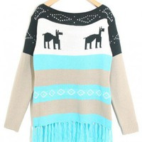 Boat neck Blue colorful striped long sleeve tassel pullover  Striped Pop  style zz917006 in  Indressme