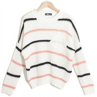 Scalloped White colorful striped long sleeve pullover  Striped Pop  style zz916047 in  Indressme