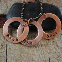 "Nautical Lifesaver Necklace Reads ""Rock the Boat"" on Three Discs a Copper Ball Chain"