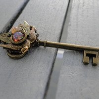 The Metal Phoenix - Antique gold steampunk key