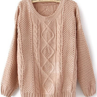Pink Round Neck Broken Stripe Sweater - Sheinside.com