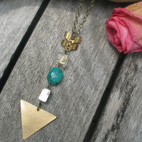 long geometric triangle necklace// pyrite with turquoise//chevron//modern tribal