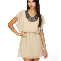 Starstruck Beaded Taupe Dress $46.00
