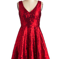 Striking Gold Dress in Red | Mod Retro Vintage Dresses | ModCloth.com