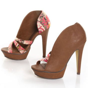 Michael Antonio Studio Tibor 2 Tan Satin Print Two Way Heels