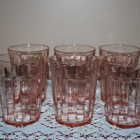 Matching Set of Six Antique Pink Depression by AGlimpseFromthePast