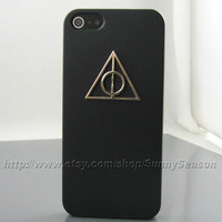 IPhone 5 case,Black Harry Potter Deathly Hallows iPhone 5 Case,Hard iPhone 5 Case