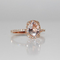 2.45ct Cushion ice peach champagne color change sapphire in 14k rose gold diamond ring engagement ring