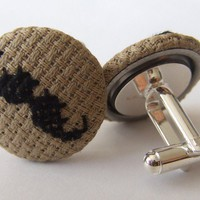Crossstitch Black Moustache Cufflinks  Available in by MaMagasin