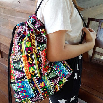 Tribal Backpack, Travel Bag, Summer Beach, Drawstrings Rustic, Reusable Bag, Weekend bag, String Backpack,  Vintage Hippie