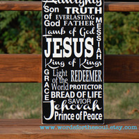 Names of Jesus Christian Scripture Subway Art Typography Wooden Sign Painting Inspirational Jehovah Almighty