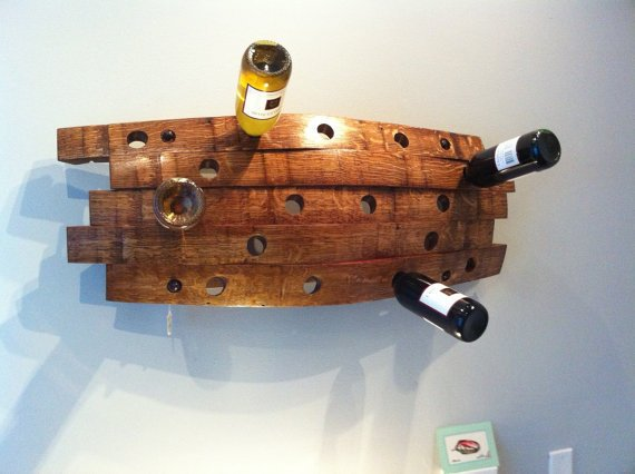 Reclaimed barrel stave wine rack by ArtInCraftDesign on Etsy
