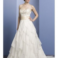 A-Line Strapless Organza Chapel Train Wedding Dress at Dresseshop