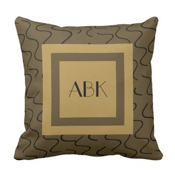 Chic Monogram Pillow, Gold & Bronze w/ Black