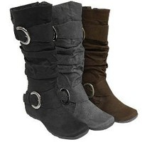 Women&#x27;s Anne Michelle by Journee Slouch Boots with Buckles : Target