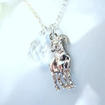 Sterling Silver Ram Necklace, Sterling silver Sheep Necklace, Sterling silver goat necklace, Year of the Ram, sheep, goat