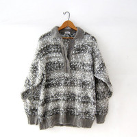 vintage chunky knit sweater. henley sweater. loose knit sweater. grey + white ombre sweater