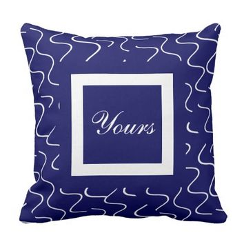 Elegant Yours/Mine Pillows, Navy/White, customize