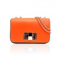Fashion Metal Twist-Lock Closure Design PU Women's Shoulder Bag