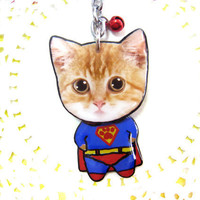 Cute Orange Cat Superman Style Keychain - SB050-K SC