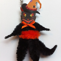 HALLOWEEN black cat witches hat vintage style CHENILLE ORNAMENTS feather tree
