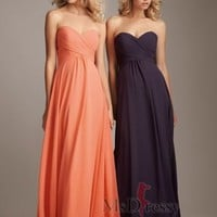 A-line Floor-length Sweetheart Chiffon Bridesmaid Dress With Pleated at Msdressy