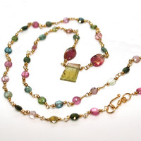 "Watermelon Tourmaline Multicolor Faceted Coin Gemstone Gold Vermeil 18"" Necklace"