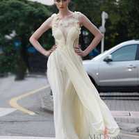 A-line Square Chiffon Ankle-length Maxi Dress With Handmade Flower And Pleating at Msdressy
