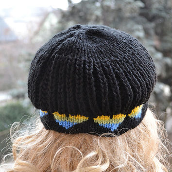 Black Knitted cap in blue hearts / hat lovely warm autumn accessories women clothing Knit Hat Womens