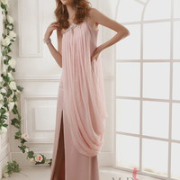 Sheath/Column One Shoulder Chiffon Floor-length Maxi Dress With Grecian Beading at Msdressy