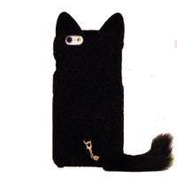 iPhone 6 Case, SwiftBox Cute Cat Shaped 3D Ear Fluffy Plush Fur Soft TPU Case with Soft Tail for iPhone 6 4.7 inch + Free Screen Protector + SwiftBox Handmade Owl Phone Strap (Black)