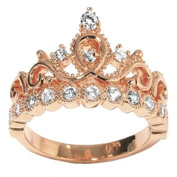 JewelsObsession's 14k Rose Gold Princess Crown CZ Birthstone Ring