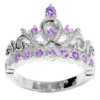 JewelsObsession's 14K White Gold Princess Crown CZ Birthstone Ring