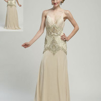 Champagne Sleek Satin Beaded Open Back Dress - Unique Vintage - Bridesmaid & Wedding Dresses