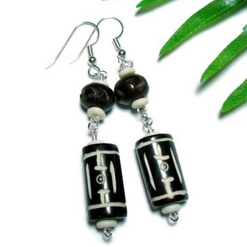 Carved Bone and Wood Earrings Tribal Design Handmade Beaded Jewelry