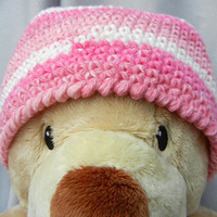 Crochet Kids Beanie Cotton Cloche Pink and White Stripe