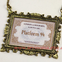 Harry Potter, Hogwarts Express Train Ticket necklace, antique brass