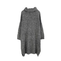 Grey Rolled Neck Sweater Dress