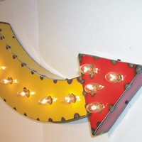 Yellow Arrow Vintage Industrial Metal Sign Letters & Lights