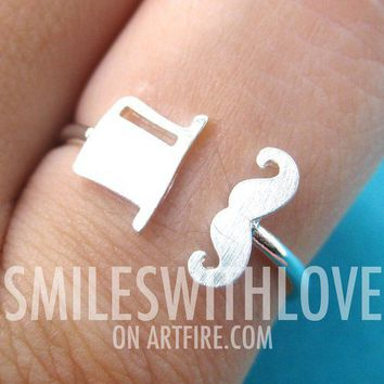 Adjustable Simple Mustache and Top Hat Ring in Silver