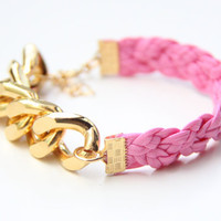 ON SALE: Arm candy - Gold Extra chunky chain with Pink leather braid Bracelet - 24k gold plated