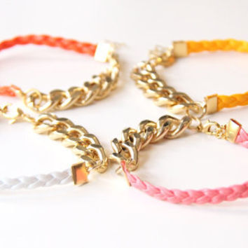 ON SALE: Arm Candy - Set of 2 - Gold chunky chain with leather braid Bracelet - 24k gold plated