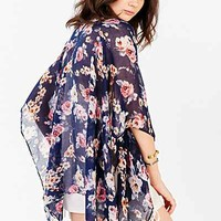 Rose Garden Lightweight Open Poncho- Dark Blue One