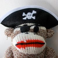 Pirate Sock Monkey Plush - Sock Monkey Doll, Small Stuffed Animal, Stocking Stuffer