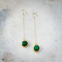 RESERVED fall fashion statement gemstone  SUPER LONG earrings emerald green jade stone gold frame gemstone earrings israel jewelry