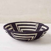 Indego Africa Geometric Plateau Basket- White One