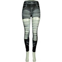 Ripped Stretch Jean Style Leggings