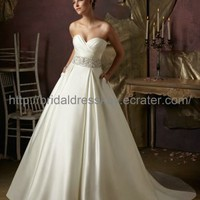 Simple A line Empire Wedding Dress