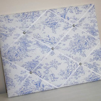 Sky Blue Central Park Toile fabric - Nursery French Memo Board